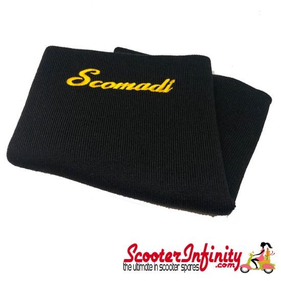 Neck Scarf Scarves Neck Warmer Face Mask SCOMADI (Black, Gold Yellow Logo)