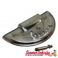 Spare Wheel Cover Half Moon VESPA Laser Cut (Stainless Steel Polished) (Vespa PX80-200 /PE/Lusso/T5)