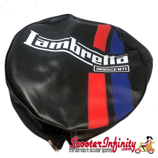 Spare Wheel Cover (Black, Red Blue Stripes) (Lambretta LI SX TV GP)
