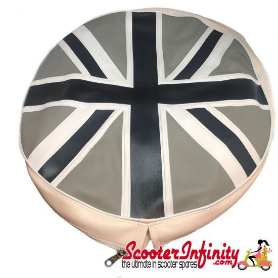 Spare Wheel Cover (Union Jack Flag) (Black & Silver) (Vespa / Lambretta)