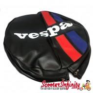 Spare Wheel Cover (Black, Red Blue Stripes) (Vespa)