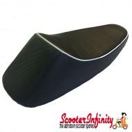 Seat Sport Corsa (Black, White Piping) (Vespa P, PX, T5 Classic)
