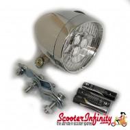 Spotlight / Spotlamp - Chrome Mod Style LED (Batterys Included) (70mm Lens, 85mm length) (Plastic, with Bracket) (Vespa / Lambretta)