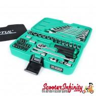 """Tool Kit Case Ratchet Set TOPTUL (1/4""""- 4mm-14mm + Bits - 49 pcs) (Vespa / Lambretta)"""