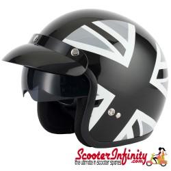Helmet / MOD Vcan V537 Open Face - (Union Jack - Black/White - With Popdown Sunvisor)