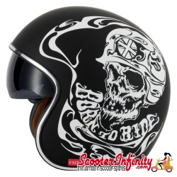 """Helmet / MOD Vcan V537 Open Face - (Classic BTR """"Born To Ride"""" - With Popdown Sunvisor)"""