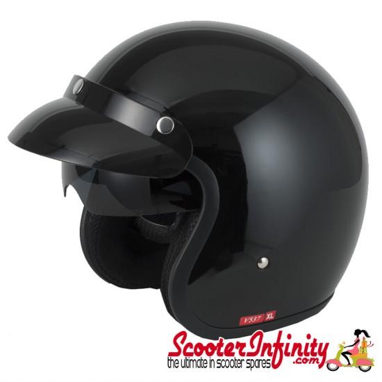 Helmet / MOD Vcan V537 Open Face - (Gloss Black - With Popdown Sunvisor)