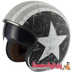 Helmet / MOD Vcan V537 Open Face - (Rebel Star - With Popdown Sunvisor)