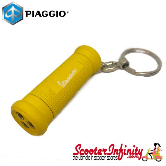 Key ring chain - Vespa Grip (Yellow, with LED Torch)