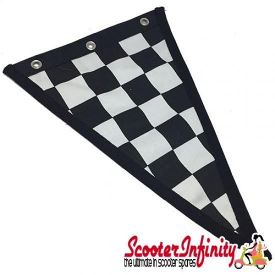 Flag Penant Lambretta Innocenti 70th Anniversary (Black, Black Trim) (240x170mm) (With Eye Holes, for Whip Aerial)