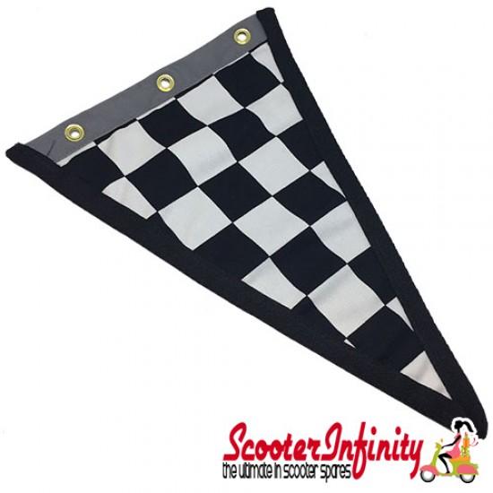 Flag Penant Lambretta Innocenti (Black, Black Silver Trim) (240x170mm) (With Eye Holes, for Whip Aerial)