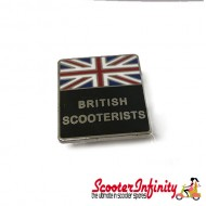 Pin Badge - British Scooterists Union Jack (Black)