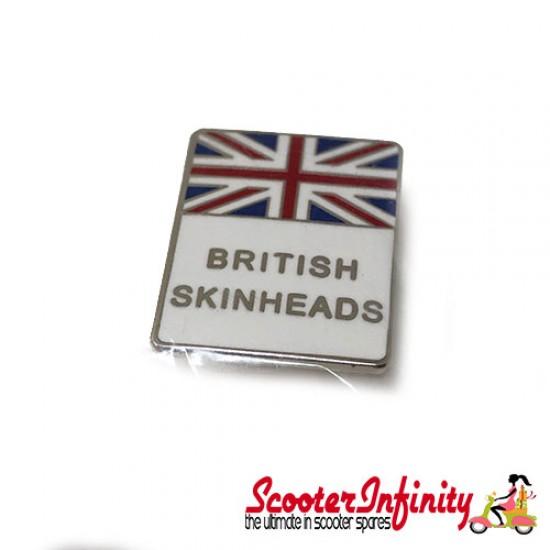 Pin Badge - British Skinheads Union Jack (White)