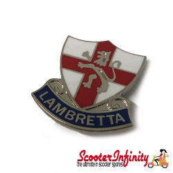 Pin Badge - England Lion Flag Shield with Lambretta Emblem No.2